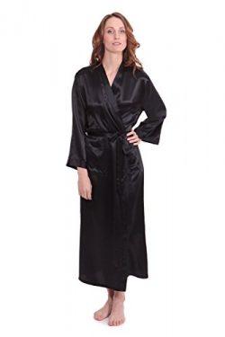 TexereSilk Women's 100% Long Silk Robe – Luxury Bathrobe (Perla Naturale, Black, Sma ...
