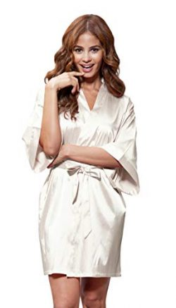 Women's Pure Color Satin Short Kimono Bridesmaids Lingerie Robes (Large, Champagne)