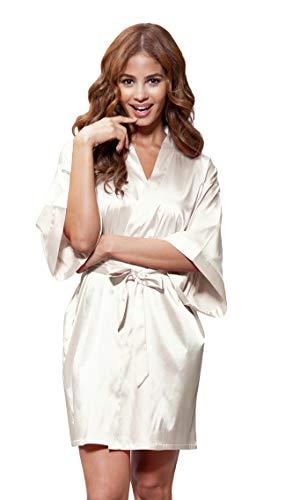 Women's Pure Color Satin Short Kimono Bridesmaids Lingerie Robes (Large, Champagne)
