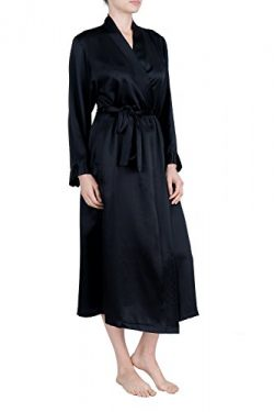 OSCAR ROSSA Women's Luxury Silk Sleepwear 100% Silk Long Robe Kimono, Black, Small / Medium