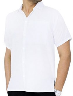 LA LEELA Rayon Beach Luau Vacation Dress Shirt White 2XL |Chest 54″ – 59″