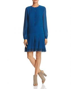 Tory Burch Women's Sydney Pleated Shirt Dress, Symphony Blue (Sz 6)