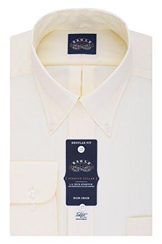 Eagle Men's Non Iron Stretch Collar Regular Fit Solid Buttondown Collar Dress Shirt, Corn  ...
