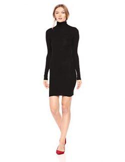 Enza Costa Women's Stretch Silk Rib Long Sleeve Turtleneck Mini Dress, Black, XS
