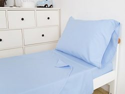 TILLYOU 3-Piece Microfiber Toddler Sheet Set (Blue, Fitted Sheet, Top Flat Sheet and Envelope Pi ...