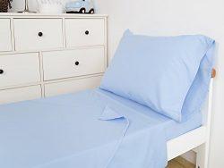 TILLYOU 3-Piece Microfiber Toddler Sheet Set (Blue, Fitted Sheet, Top Flat Sheet and Envelope Pi ...