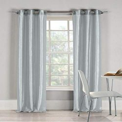 Duck River Textile Bali Faux Silk Grommet Top Window Curtain 2 Panel Drape, 38 x 96, Platinum