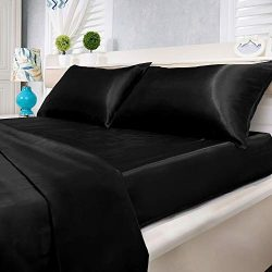 Natural Life Home 4 Piece Satin Sheet Set, Queen, Black