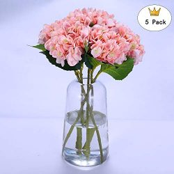 Hydrangea Silk Flowers 5 Pack, Warm and Romantic Home Wedding Party Decor(Pink)
