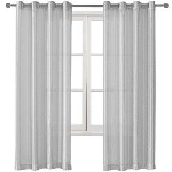 DWCN Sheer Curtains Faux Silk Drapes Semi Transparent Grommet Curtain for Bedroom Girl's Room Vo ...