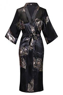 DandyChic Women's Kimono Robes Flower Print Kimono Imitation Silk Long Style