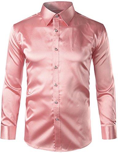 ZEROYAA Mens Regular Fit Long Sleeve Shiny Satin Silk Like Dance Prom Dress Shirt Tops Z6 Pink Large