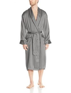 Geoffrey Beene Men's Silk Shawl Collar Robe, Grey, Large