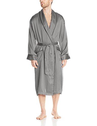 Geoffrey Beene Men's Silk Shawl Collar Robe, Grey, Large