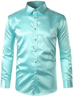 ZEROYAA Mens Regular Fit Long Sleeve Shiny Satin Silk Like Dance Prom Dress Shirt Tops Z6 Green  ...