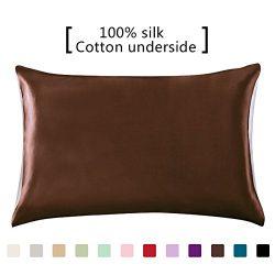 YANIBEST 100% Mulberry Silk Pillowcase for Hair and Skin with Hidden Zipper Cotton Underside Que ...