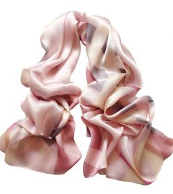 JIMINCI Womens Fashion Plaid Scarf 100% Silk (Light Pink)