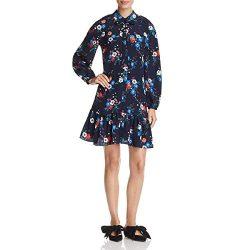 Tory Burch Womens Gabrielle Silk Floral Print Shirtdress