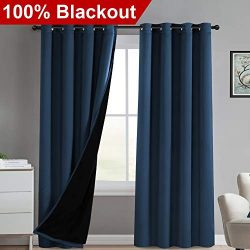 100% Light Blocking Panels Thermal Insulated Winow Treatment Grommet Panels Full Blackout Curtai ...