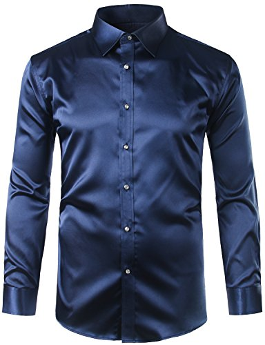 ZEROYAA Mens Regular Fit Long Sleeve Shiny Satin Silk Like Dance Prom Dress Shirt Tops Z6 Navy B ...