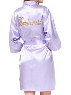 PROGULOVER Kimono Robe for Women Bride Stain Bridesmaid Robes Imitation Silk Short Wedding Party ...