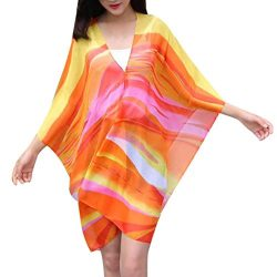 Loose Fit Women Chiffon Sunscreen Scarf Big Size Silk Scarf Shawl (Orange)