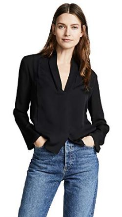 Vince Women's Silk Drape Neck Blouse, Black, 6