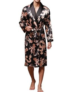 Haseil Men's Satin Robe Dragon Chinese Silk Spa Long Sleeve House Kimono Bathrobe, Black,  ...