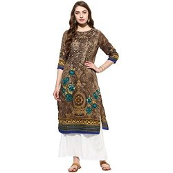 Lagi Kurtis Ethnic Women Kurta Kurti Tunic Digital Print Top Dress Casual Wear New Launch (Brown)