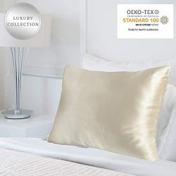 MYK 100% Natural Mulberry Silk Pillowcase, 25 Momme for Hair and Skin Care, Oeko-TEX, Hypoallerg ...