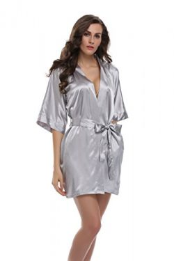 Sunnyhu Women's Pure Color Kimono Robe, Short (XL, Silver)