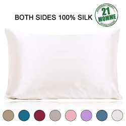 Ravmix Silk Pillowcase Standard Size for Hair and Skin with Hidden Zipper, 21 Momme 600TC Hypoal ...