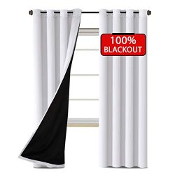 H.VERSAILTEX 100% Blackout White Curtains for Bedroom Faux Silk Satin with Black Liner Thermal I ...