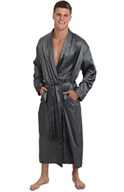 Alexander Del Rossa Mens Satin Robe, Long Lightweight Loungewear, Small Steel (A0720STLSM)