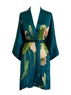 Old Shanghai Women's Silk Kimono Short Robe – Handpainted, Crane Teal, One Size.