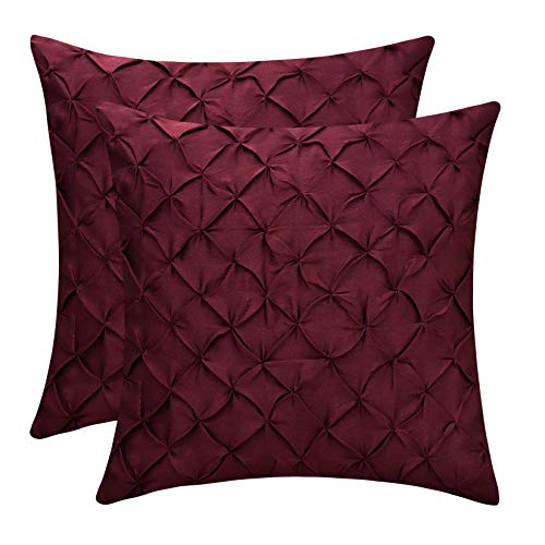 The White Petals Maroon Cushion Covers (Faux Silk, Pinch Pleat, 16×16 inch, Pack of 2)