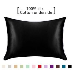 YANIBEST 100% Mulberry Silk Pillowcase for Hair and Skin with Hidden Zipper Cotton Underside Que ...