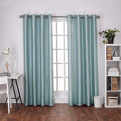 Exclusive Home Chatra Faux Silk Window Curtain Panel Pair with Grommet Top, Robin Blue, 54× ...