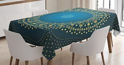 Ambesonne Mandala Decor Tablecloth by, Digital Moroccan Geometric Sign of Universe Folkloric Asi ...