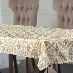 HPD Half Price Drapes PTPCH-170802B-TC-120 Iron Gate Designer Faux Silk Taffeta Table Cloth, Gol ...