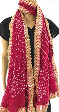 Tie and Dye faux silk dupatta stole.Party wear bandhej dupatta with gota lace border/Magenta