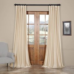 Half Price Drapes PTCH-JTSP130907-84 Faux Silk Taffeta Curtain, Antique Beige