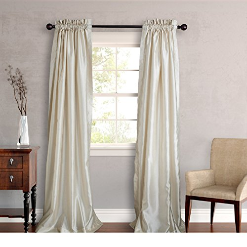 Two Piece Ivory 96-Inch Faux Silk Lined Curtain Panel Pair, Solid Pattern, Classic, And Traditio ...