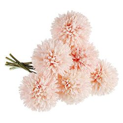Artificial Flowers, Fake Flowers Silk Artificial Hydrangea 6 Heads Bridal Wedding Bouquet for Ho ...