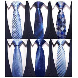AVANTMEN New Men's neckties 6 Pack Classy Neck Tie for Men Woven Jacquard Neck Ties (6 Pac ...