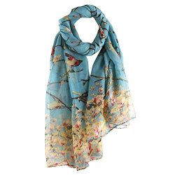 Women Lightweight Vintage Scarves: Flowers Birds Print Shawl Wrap Multi- color Long Voile Warm S ...