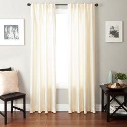Softline Bergamo Faux Silk Back Tab Window Panel/Curtain / Sheer/Drape with Thick Faux Silk Desi ...