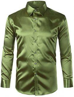 ZEROYAA Mens Regular Fit Long Sleeve Shiny Satin Silk Like Dance Prom Dress Shirt Tops Z6 Army G ...