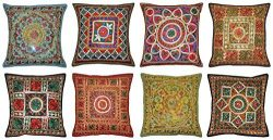 Labhanshi Handmade Embroidered and Mirror Work Indian Cotton Throw Pillow Cushion Covers 16 X 16 ...