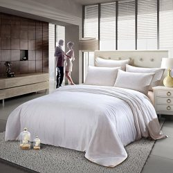 ZESTILK Mulbberry Silk Comforter Duvet White Cotton Cover Four Seasons Allergy Free (King 102 ...